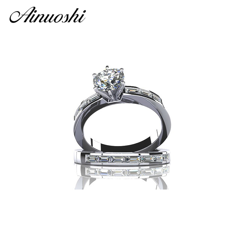 AINUOSHI Wholesale Free Shipping 1 Carat Round SONA NSCD Solid 925 Sterling Silver Weddin Promise Engagement