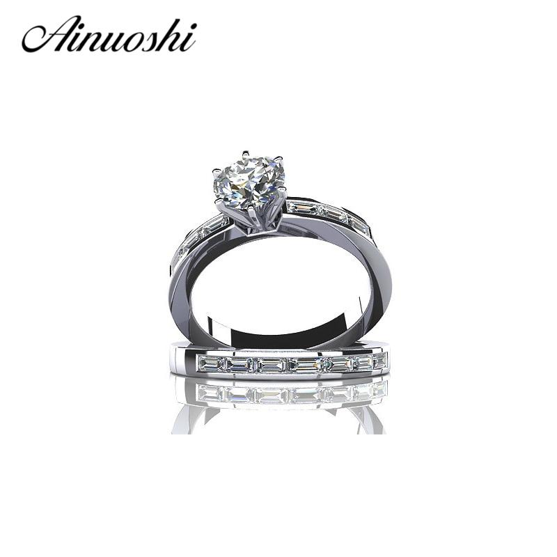 Ainuoshi卸売送料無料1カラットラウンドsona nscd固体925スターリングシルバーweddin約束婚約リングセット用女性  グループ上の ジュエリー & アクセサリー からの 婚約指輪 の中 1