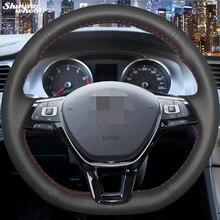 Housse de volant en cuir noir brillant, cousue à la main, pour Volkswagen VW Golf 7 Mk7, nouvelle collection Polo, Jetta, Passat B8