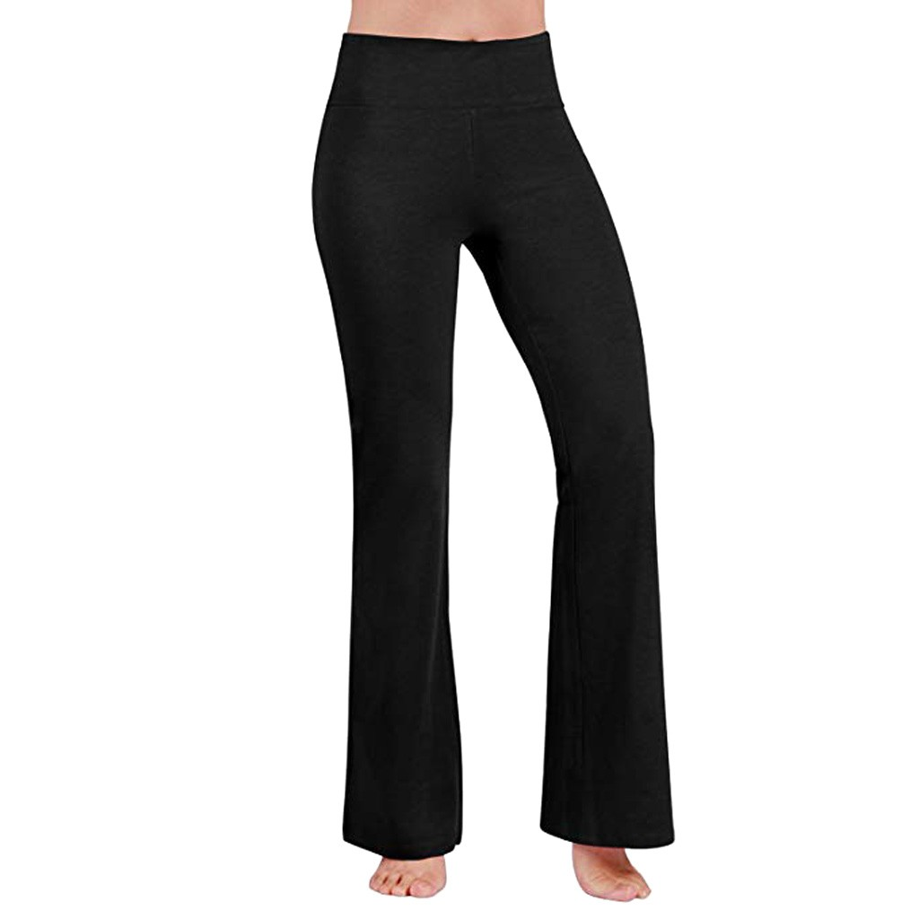 High Waist   Wide     Leg     Pants   Women Solid High Elastich Flare   Pants   Skinny sexy bodycon trousers club   pants   office long   pants   black