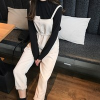 Autumn Womens Casual Corduroy Jumpsuits Lace Up Vintage Drawstring Overalls Rompers Sleeveless Loose Paysuits