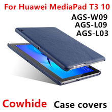 Case Cowhide For Huawei MediaPad T3 10 Protective Shell Smart Cover Tablet For huawei t310 ags-w09 l09 l03 Genuine Leather Cases