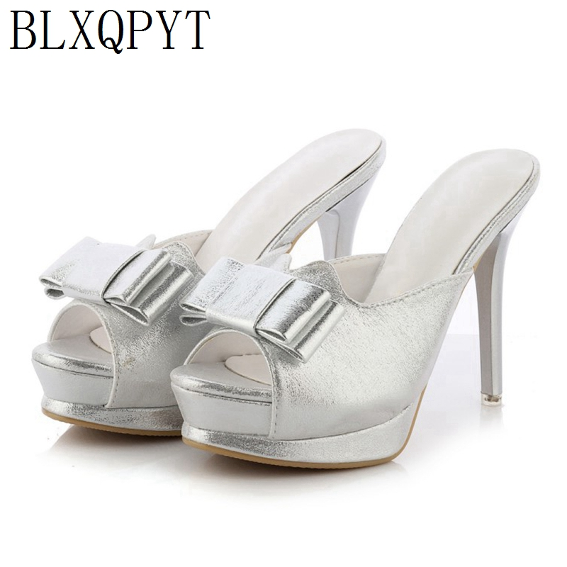 BLXQPYT Limited sales Fashion glitters Women Summer mules thin Super high Heels(11CM) <font><b>sexy</b></font> wedding party Shoes Woman <font><b>10</b></font> image