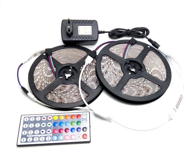 IP65 Waterproof 5050 RGB 10M LED Strip Set Flexible Tape Home Decoration Lighting 44Keys IR Controller 12V DC Power Adapter