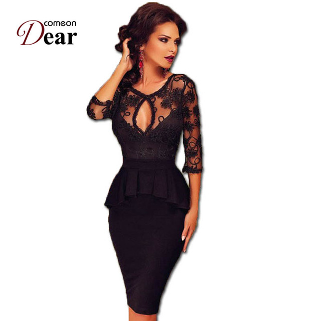 RJ80206 Comeondear Work Dress Black Half Sleeve Sheer Lace Embroidery Peplum Dress Super Deal Women Elegant Casual Pleated Dress