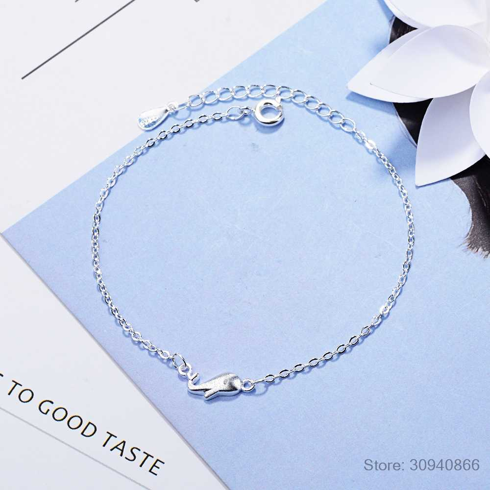 Hot Sell 925 Sterling Silver Small Dolphin Chain Bracelet Animal Adjustable Charm Bracelets & Bangle for Women Girl Kids Gifts