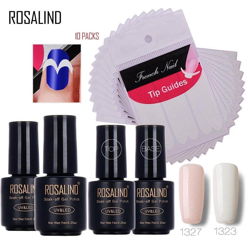 Набор гель-лаков для ногтей Rosalind 7 мл * 4 + 10 шт., руководство по французскому маникюру и улыбке, искусственные наклейки для ногтей, инструменты...