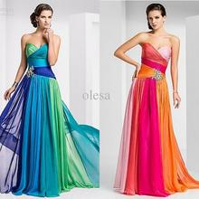 Elegant Sweetheart Sheath Column Floor-length Crystal Detailing Pleat Beads Chiffon Prom