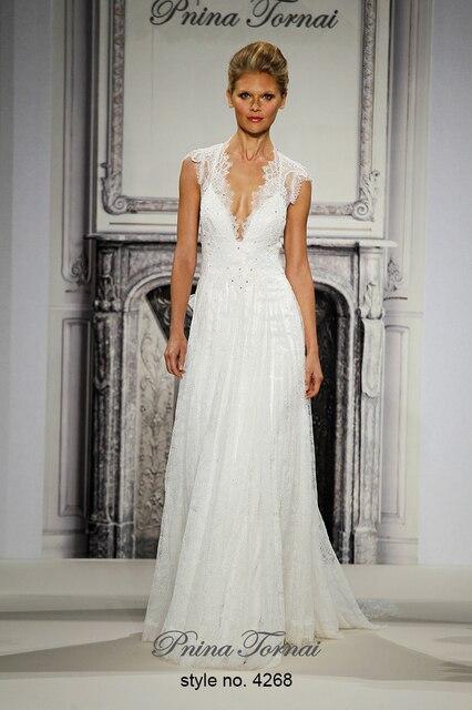 Runway Show V Neck Lace Cap Sleeve Wedding Dresses Backless A Line Y Bridal Dress Vestido