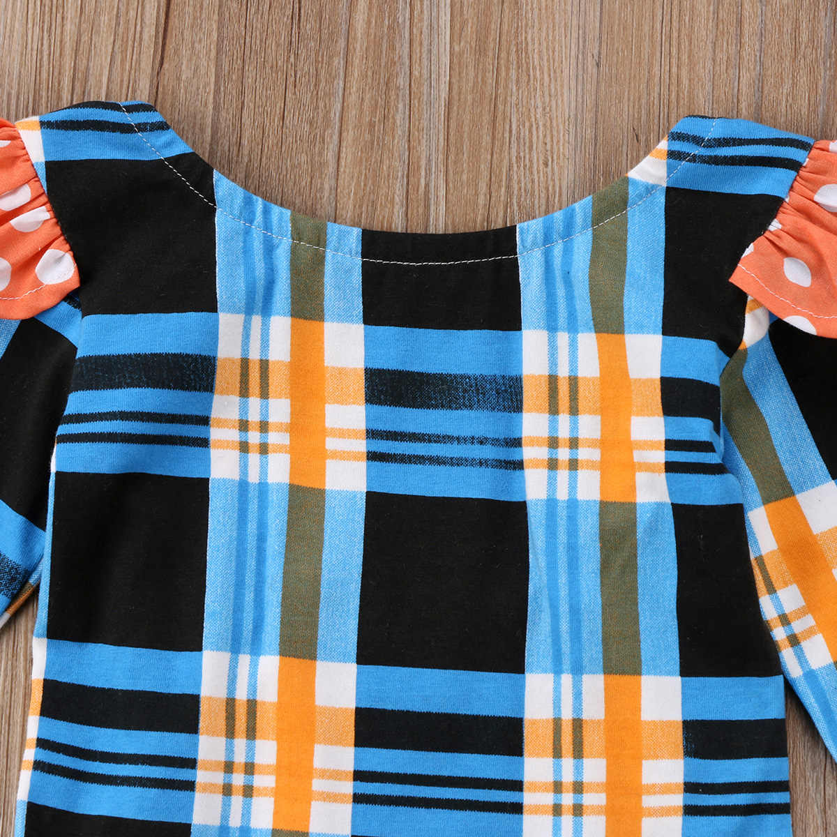 e6dee535e ... 2018 Cute Newborn Baby Tartan Plaid Romper Flying Sleeves Jumpsuit  Denim Blue Skirt Outfits Ruffle Clothes ...