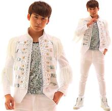 Tassel diamond paillette white blazer males newest coat designs males costume stand collar males's jackets character stage singer