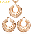 Ethlyn New Nigerian Big Hoop Earrings Pendant Necklaces Jewelry Sets Cooper Rose Gold Plated  Bridal Party Accessories S096