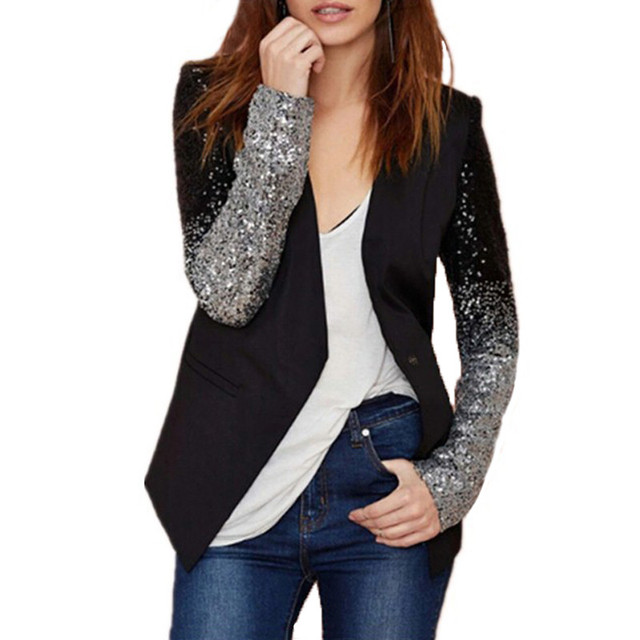 2017 가을 여성 재킷 코트 작업 블레이져 정장 긴 소매 옷깃 실버 블랙 스팽글 우아한 숙녀 재킷 feminino