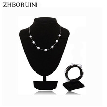2016 Fashion Pearl Jewelry Set Natural Freshwater 925 Sterling Silver Necklace Bracelet Pendant For Women Gift
