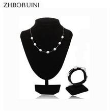 Zhboruini модные Ювелирные изделия из жемчуга комплект естественный пресноводный жемчуг 925 серебро жемчуг Цепочки и ожерелья браслет кулон для Для женщин подарок