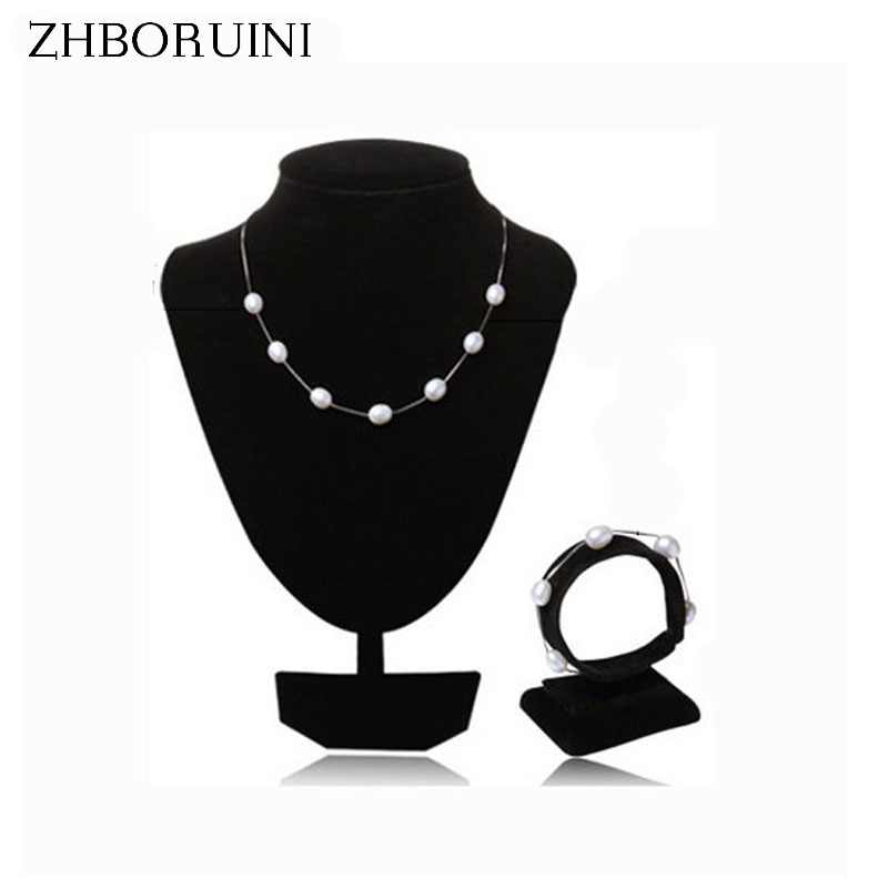 2016 Fashion Pearl Jewelry Set Natural Freshwater Pearl 925 Sterling Silver Pearl Necklace Bracelet Pendant For