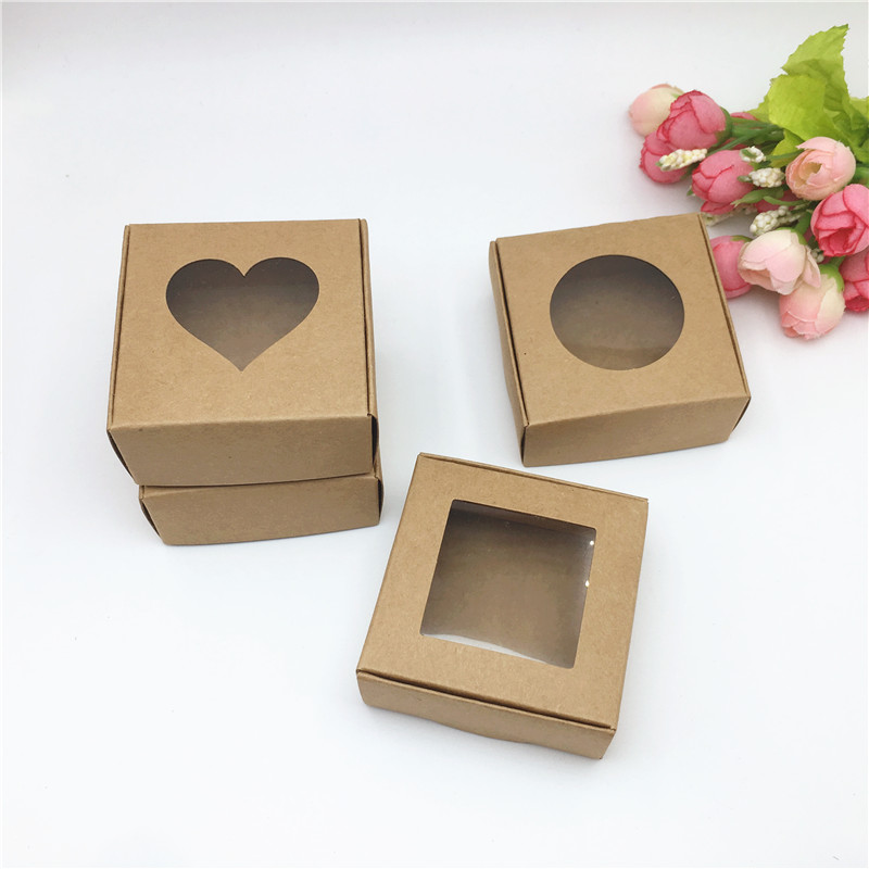 20pcs Kraft Paper Cardboard Storage Boxes With Window Gifts Box For Products/Favors Gifts Packaging Box Popular Boxes