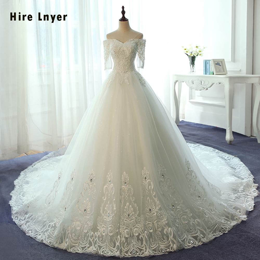HIRE LNYER New Listing Three Quarter Sleeve Lace Up Appliques Beading Crystal Gorgeous Bridal Wedding Dresses