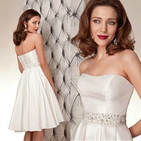 Cheap Simple Wedding Dreses Strapless A Line Knee Length Bridal Gowns Short Dresses Beading Belt Satin Dresses