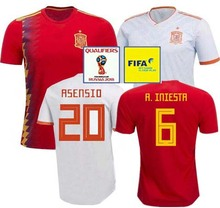 83b8947a5 2018 Spain Soccer Jersey+Patch World Cup home away INIESTA MORATA ISCO Spain  Football jersey national Football Shirts ASENSIO S