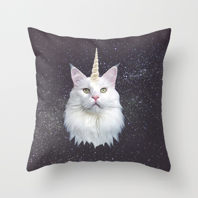 The unicorn white cat 33cmx33cm inch Soft Glossy Throw Pillow Case Pillowcase Cover (twin sides)