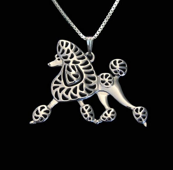 Poodle cão colar artesanal esculpido oco acessório jóias prata/dourado cores chapeado entrega rápida
