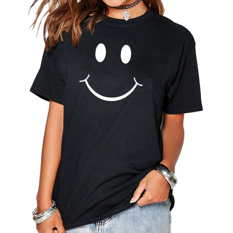 Womens T-Shirt Smiling Face Funny Harajuku Product Clothes for Women Alien Vintage T Shirt Femme Tops 2018
