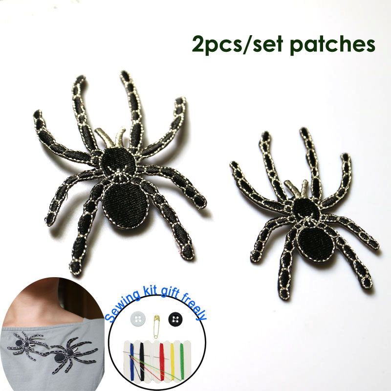 2pc set high quality spider ironing embroidery patches iron on embroidered parches appliques for clothing parches para la ropa in Patches from Home Garden