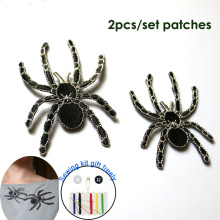 2pc/set high quality spider ironing embroidery patches iron on embroidered parches appliques for clothing para la ropa
