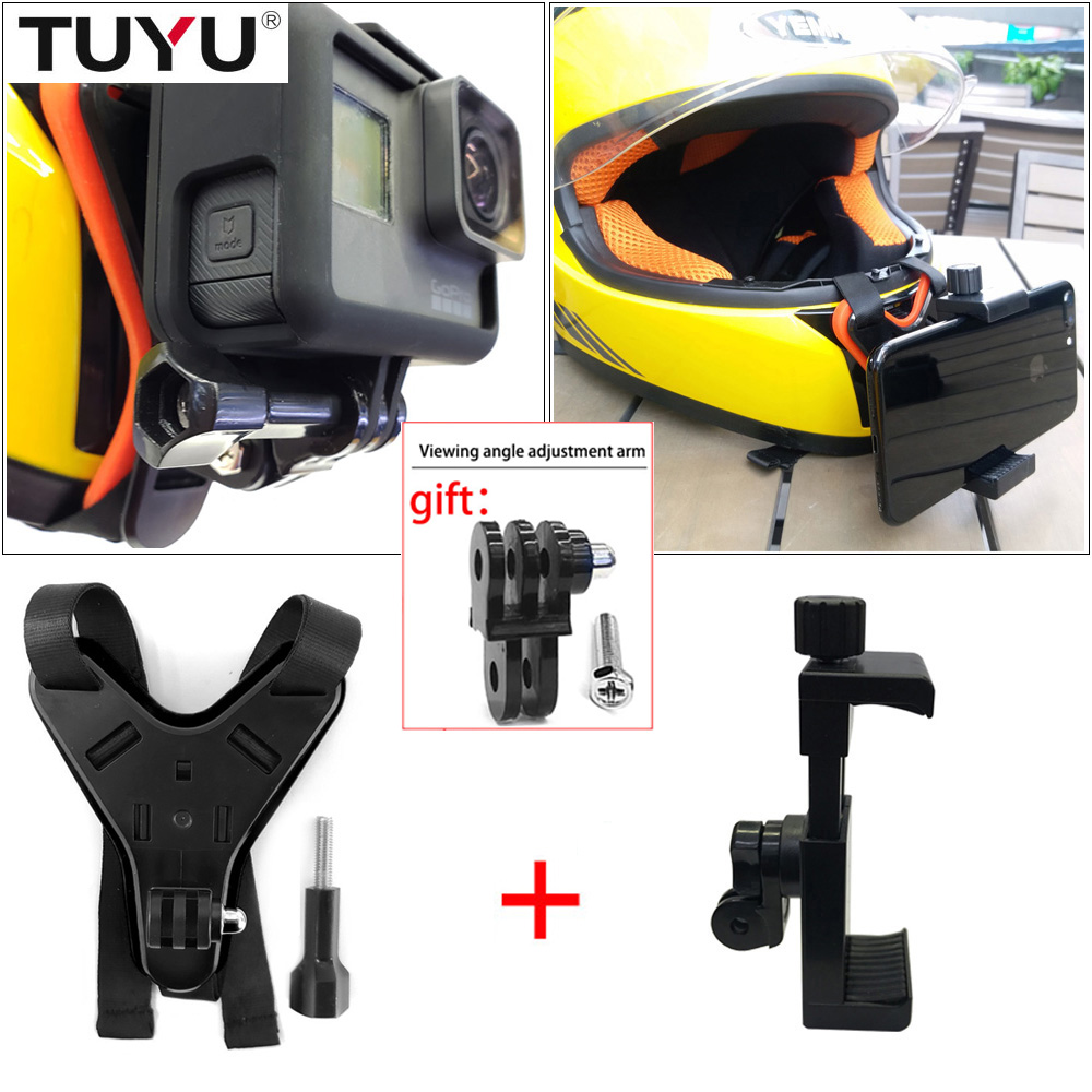 TUYU Full Face Helmet Chin Mount Holder for GoPro Hero 8/7/6/5 SJCAM Motorcycle Helmet Chin Stand for Gopro 6/5 Camera Accessory