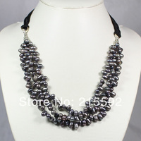 Unique Dark Peacock Pearl Bib Statement Necklace Freshwater Pearl Beads Necklace Wholesale Free Shipping FP047