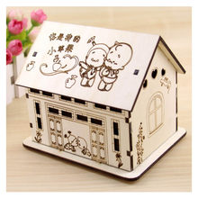 House Decoration Wooden LED House Miniature Lighted Villa Figurines Creative Large Capacity Lamp House Piggy Bank Crafts Gifts(China)