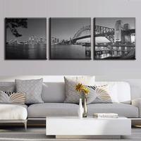3 נוף יח'\סט אוסטרליה גריי גשר נמל סידני גשר הדפסי בד ציור מודרני קישוט בית אמנות קיר