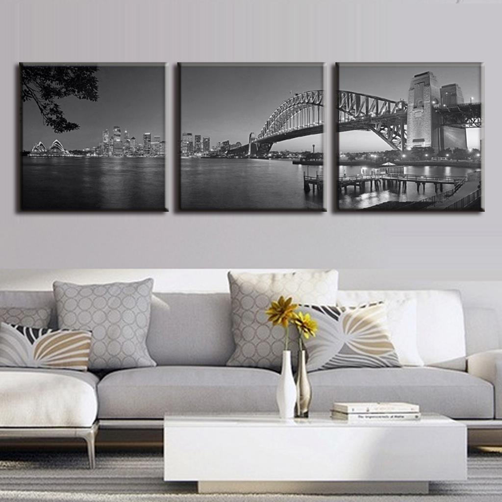 3 pcs set australia landscape grey sydney harbour bridge canvas prints painting modern bridge wall art home decoration in painting calligraphy from home