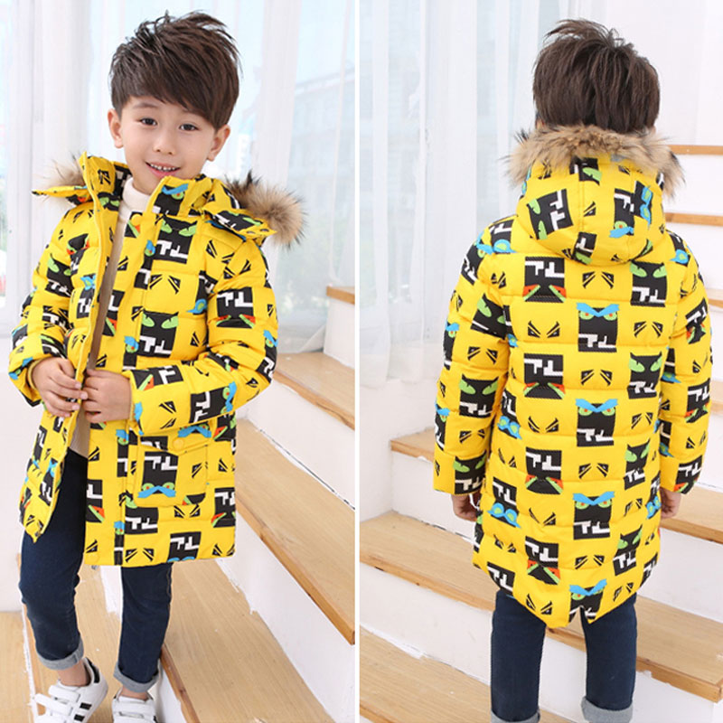 2017 Children's Winter Jackets Coats Boys Warm Thicken Hooded With Fur Long Downs Jacket Kids Clothes Outerwear Down & Parkas 2017 boys winter jackets coats fashion hooded warm winter jacket for boys kids cotton outerwears coats for 10degree boys parkas
