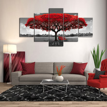 5 Pieces Autumn Red Tree Canvas Set, Multi Panel Print Decor, Red Leaves House Gift, Abstract Picture Wall Art, Home Decoration(China)