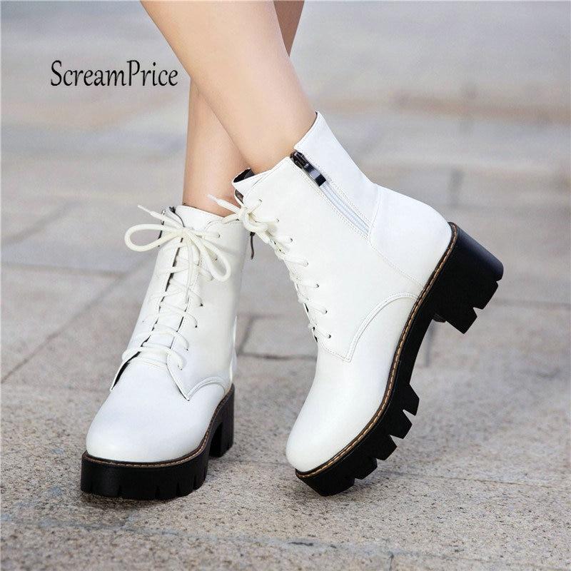 Women Platform Thick High Heel Ankle