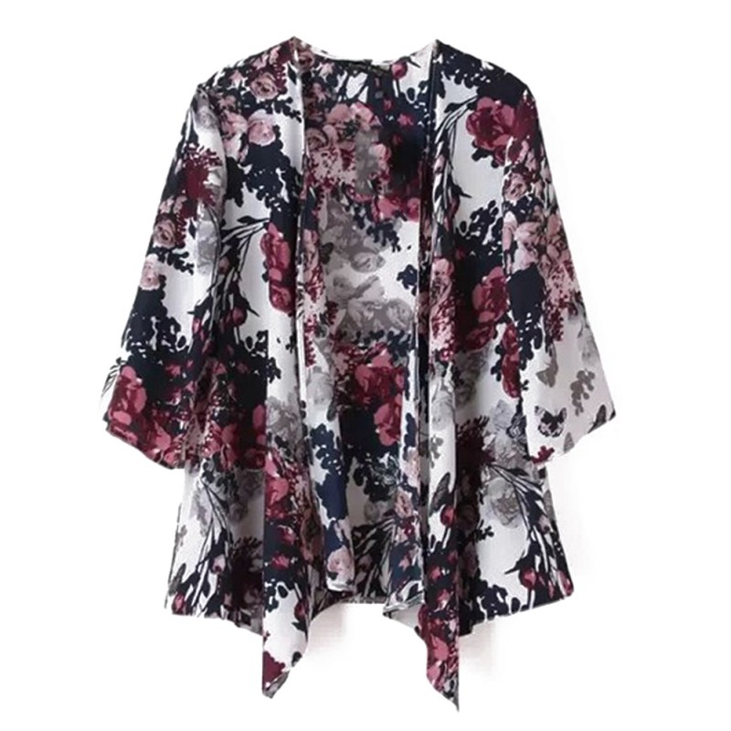Vintage Summer Half Sleeve Floral Print Casual Kimono Boho Bohemian Vacation Women Tops And Blouses Female Kimono Cardigan