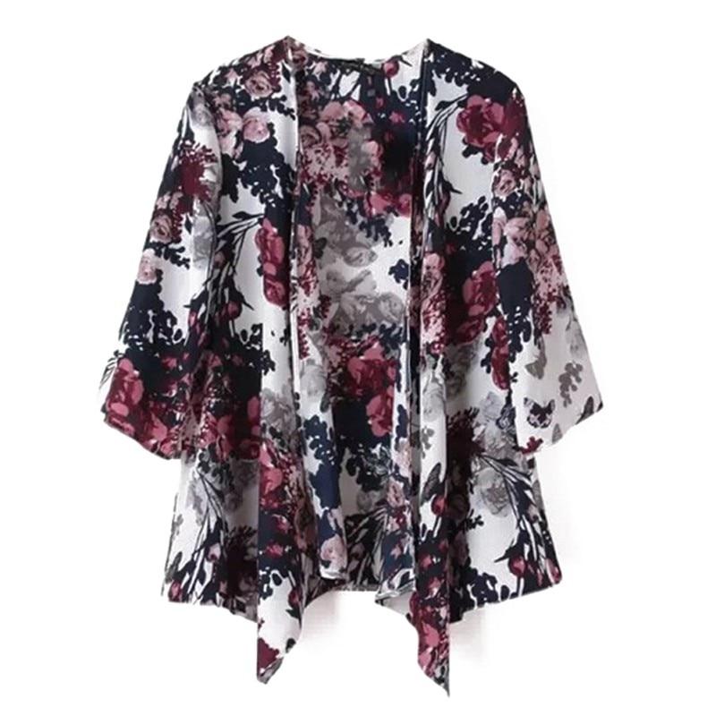 Vintage Summer Half Sleeve Floral Print Casual Kimono Boho Bohemian Vacation Women Tops And Blouses Female Kimono Cardigan