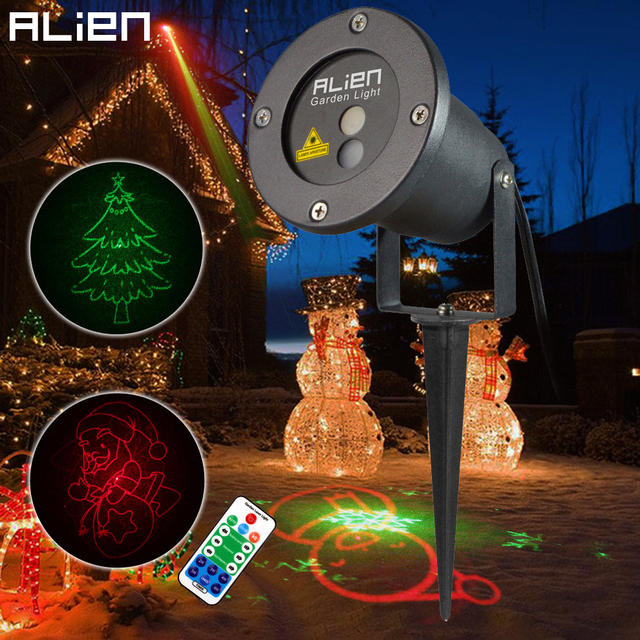 Flash Promo ALIEN Christmas IP65 Outdoor Laser Lights Projector 8 Patterns RG Waterproof Snowflake Xmas Tree Garden Decoration Show Lighting