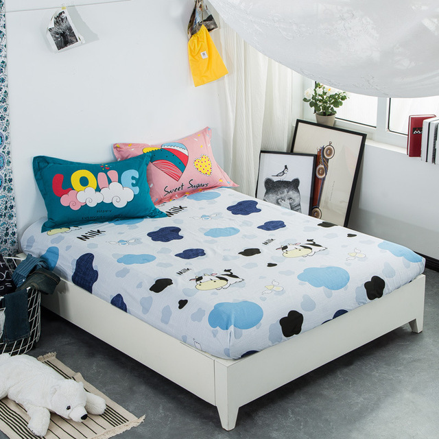 Cartoon Cow Fitted Bed Cotton 1pcs Sheets Sheet Elastic Mattress Cover Bed  Linen Bedspread Twin Full