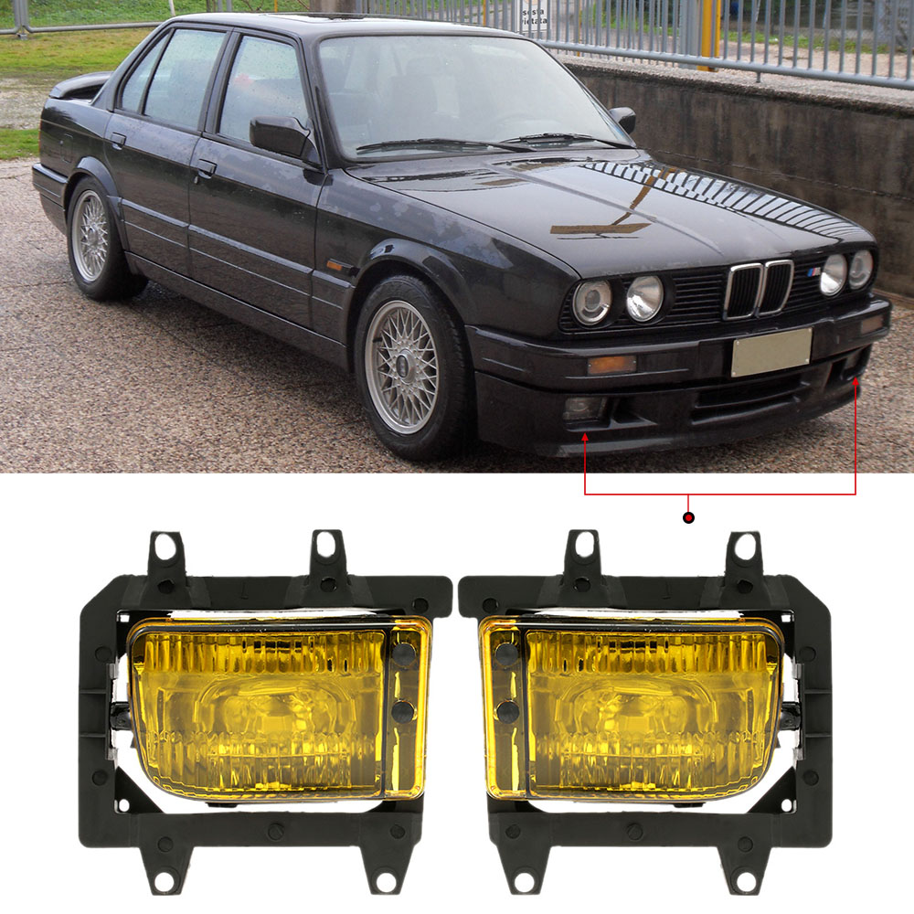 Pair of Left & Right Front Fog Light Transparent Plastic Lens Kit for BMW E30 3-Series 1985-199 epman universal black 3 76mm polished aluminum fmic intercooler piping kit diy pipe l 450mm for bmw e30 3 series ep lgtj76 450