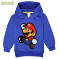 2017 New Arrivals Baby Long Sleeve Hoodies Boy Girl Cartoon Super Mario Sweatshirt Children Hooded Costume Kids Clothes FCY012