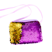 Sequins lanyard bag girls purse children creative diagonal shoulder love sequins mini explosion models