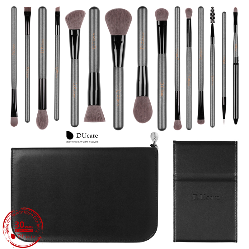 DUcare Makeup Brushes Sets 15PCS high quality Professional brush set with Portable Mirror cosmetic make up brushes with bag new arrival 2018 autumn knitted dresses fashion women long sleeve v neck knee length dress casual solid female dress clothes
