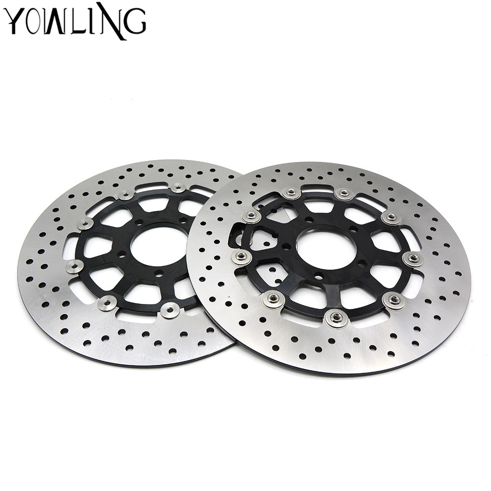 CNC Motorcycle Front Brake Disc Brake Rotors For SUZUKI GSXR 750 1996 1997 1998 1999 2000 2001 2002 2003 K1 K2 K3 motorcycle parts 1 pair black stainless steel mechanical motorbike front rear disc brake rotor fit for suzuki gsx r 750 2000 2001 2002 2003 front l r