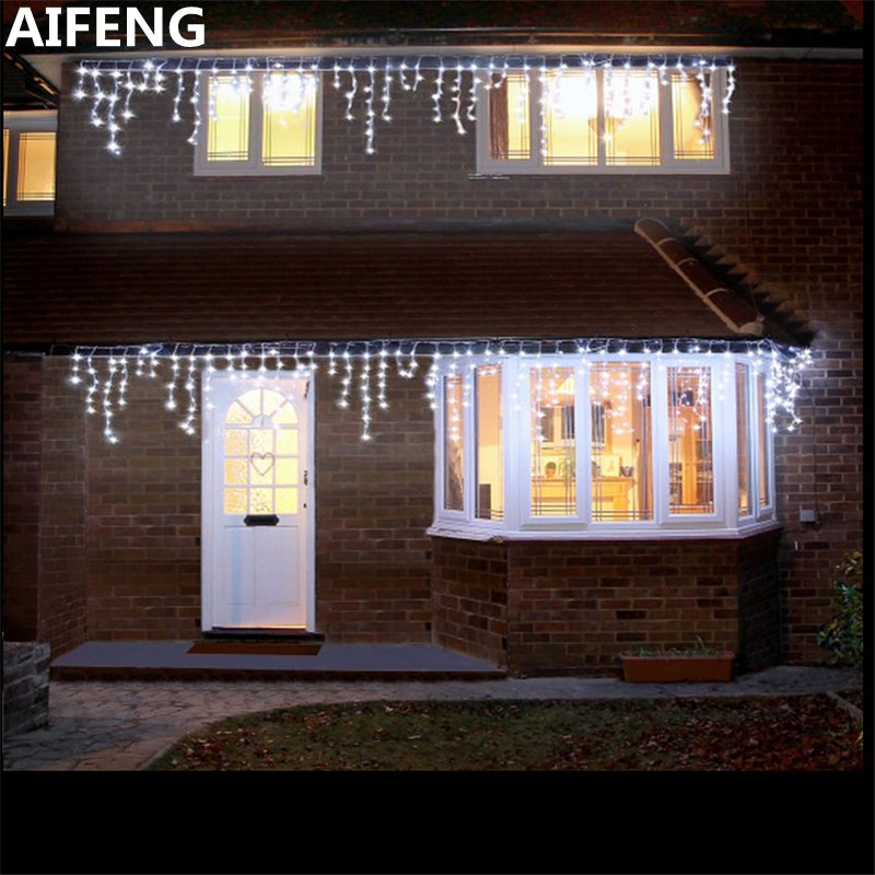 AIFENG Outdoor Waterproof 5M*0.8M Fairy Lights Christmas Decoration Curtain Led Wedding Decoration Lights Outdoor Curtains christmas elk print polyester waterproof shower curtain