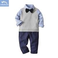 3pcs clothing sets boys shirts + vest + pant 2018 long sleeve children 2 5 year Sweater vest kids gentleman suits clothes set