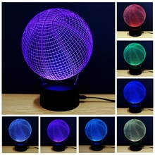 New 3D Novelty Basketball LED Night Light Touch RGB Table Lamp DC 5V USB Dimmable led Lighting Decor Desk light Free Shipping