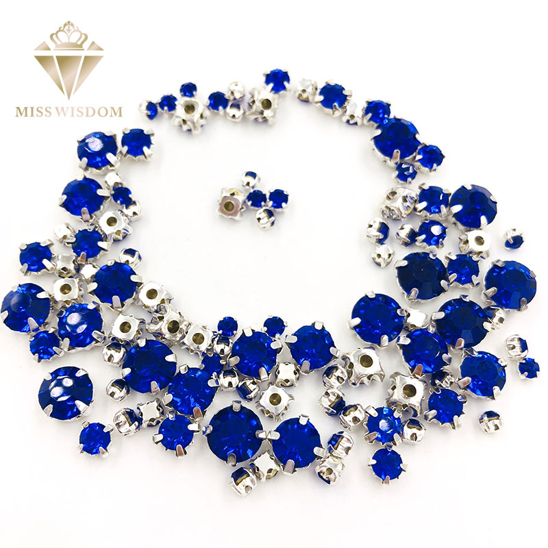 Hot Sale Strass 100pcs/pack Mixed Size Royal Blue Glass Crystal Sliver Base Sew On Rhinestones Diy Clothing Accessories